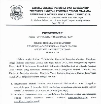 Seleksi JPT Pratama Setda Kota Tegal